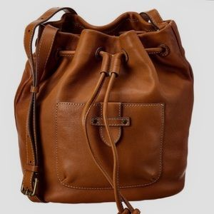 Frye Olivia Tan Leather Bucket Crossbody Bag